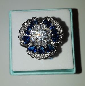 925 Silver sapphires gemstone ring size 8